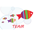 Team group work with fishes vector image