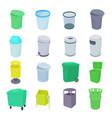 Trash bin set icons vector image