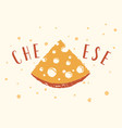 triangular piece cheese drawn in form vector image