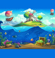 undersea world with grinder on island vector image vector image