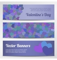 Valentines Day horizontal banners on purple vector image