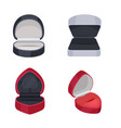various ring boxes flat icons set vector image