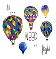 Watercolor card with hot air balloon Hand drawn vector image vector image
