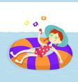 weekend on beach girl vector image