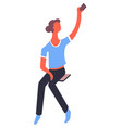 woman taking selfie with smartphone blogger vector image