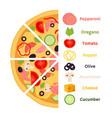 pizza ingredients cartoon flat style vector image