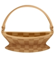 Empty wicker basket with handle Straw basket vector image