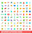 100 sport activities icons set cartoon style vector image vector image