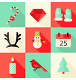 9 Christmas Flat Icons Set 3 vector image vector image