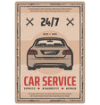 auto repair service retro poster with vintage car vector image vector image
