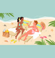 beauty girls on tropical exotic sea beach vector image