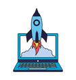 business laptop rocket vector image vector image