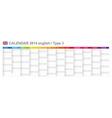 Calendar 2014 English Type 3 vector image vector image