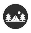 camping tent pine trees sun landscape block and vector image