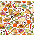 cartoon fast food seamless pattern vector image vector image