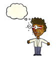 cartoon staring man with thought bubble vector image vector image