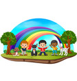 children and dogs in the park on rainbow day vector image vector image