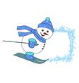 Christmas cartoon character frame - skiing snowman vector image