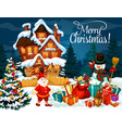 christmas gifts snowman and dwarf greeting card vector image vector image