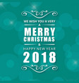 christmas greetings card with blue background and vector image