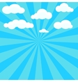 Clouds and blue sky with sunburst on background vector image vector image