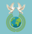 color poster pigeon flying with olive branch in vector image