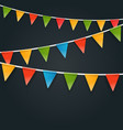 color triangle flags garlands on dark background vector image vector image