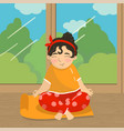cute beautiful girl sitting in lotus position and vector image vector image