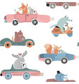 cute seamless pattern with funny forest vector image