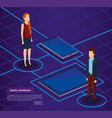 digital technology with business people isometric vector image vector image