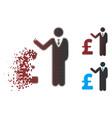dissolving pixel halftone pound banker icon vector image vector image