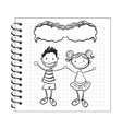doodle kids with speech bubble on notepad vector image vector image