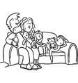 family sitting in the seat - black line vector image vector image