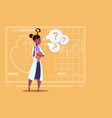 female african american doctor confused thinking vector image vector image