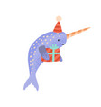 festive cartoon narwhal with gift box tied vector image vector image