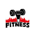 fitness sign with dumbbell in hand vector image