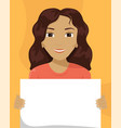 flat of a mixed-race woman with a placard in her vector image vector image