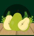 fresh fruits green pear cartoon vector image vector image
