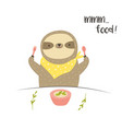 funny cute eating breakfast postcard poster vector image vector image