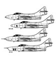 grumman f9f cougar vector image vector image