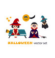 halloween clipart set with kids in costumes vector image vector image
