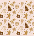 hand drawn seamless pattern with cookie cute vector image