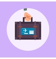 Hand hold travel suitcase cartoon vector image