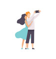 happy couple in love taking selfie photo or video vector image vector image