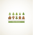 happy holiday card with christmas trees and vector image vector image