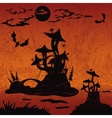holiday halloween landscape with castle mushroom vector image vector image