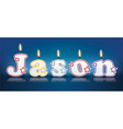 JASON written with burning candles vector image