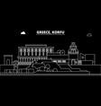 korfu silhouette skyline greece - korfu vector image vector image