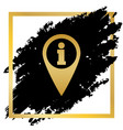 map pointer with information sign golden vector image vector image