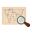 map with marks and a magnifying glass icon vector image